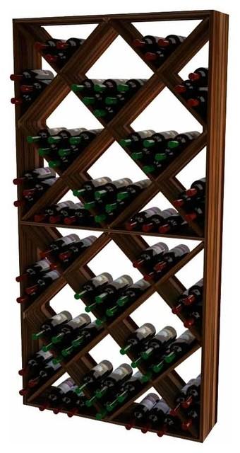 Lisette Wine Rack, Pine And Dark Walnut.