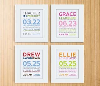 Modern Typography Birth Print by Mosie Posies - Contemporary - Nursery Decor - by Etsy
