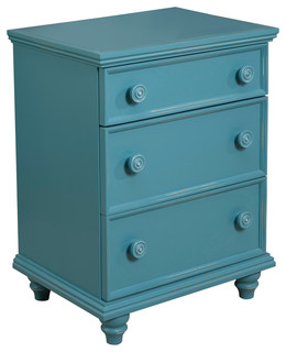 Notting Hill Night Stand 3-Drawer, Teal