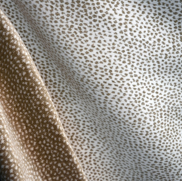 White And Taupe Cheetah Print Upholstery Fabric Siamese Snow Cement