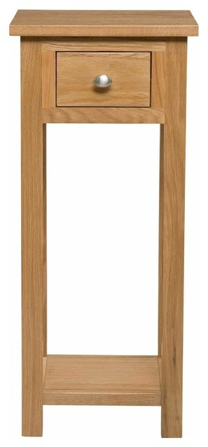 Tall Slim Bedside Table Natural Solid Wood With 1 Drawer And Open Shelf
