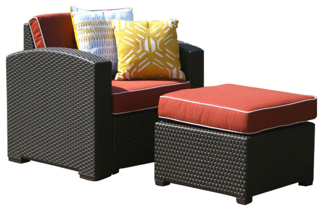 Strata Furniture Patio Chair and Ottoman Outdoor Lounge Sets