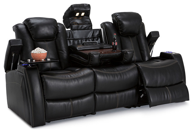 Seatcraft Omega Leather Gel Home Theater Seating Recline Sofa Black