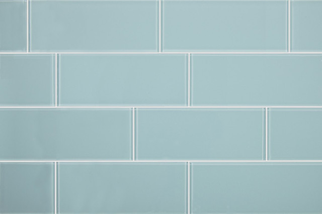 3u0026quot;x8u0026quot; Aqua Blue Glass Subway Tiles, Set of 6 ...