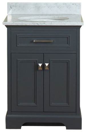 Yorkshire 25 Single Bathroom Vanity Gray With Carrera Marble Top Transitional Bathroom Vanities And Sink Consoles By Luxury Bath Collection Houzz