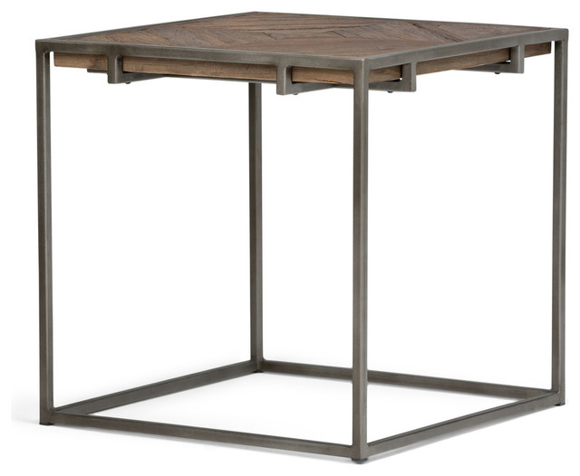Avery Industrial End Table With Distressed Java Brown Wood Inlay Tabletop