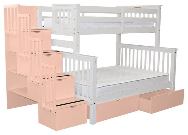 Bedz King Bunk Beds Twin Over Full Stairway, 4 Pink Steps, 2 Bed Drawers, White.