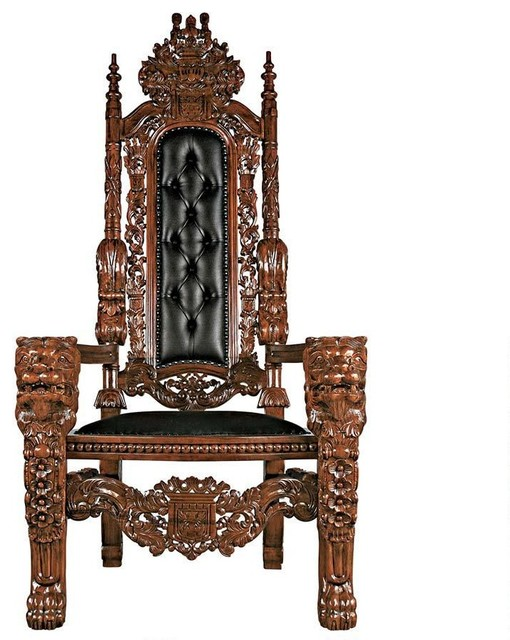 The Lord Raffles Faux Leather Lion Throne Chair - The Lord Raffles Faux Leather Lion Throne Chair - Traditional