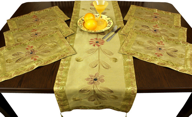 Hand Painted 7 Piece Placemat U0026 Table Runner Set, Dark Gold Asian Table