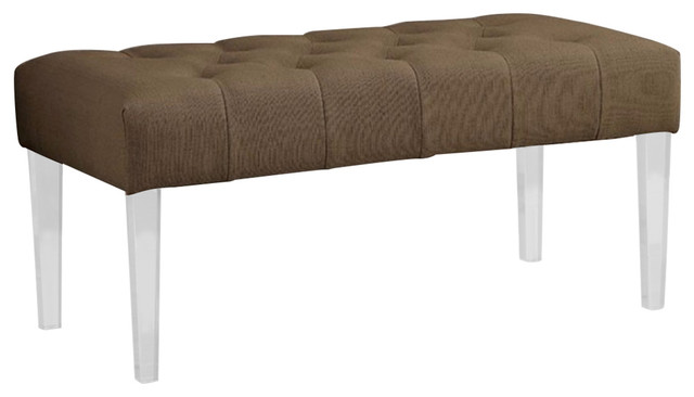 Contemporary Style Bench, Brown. -1