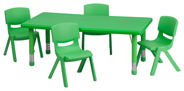 Preschool Activity Table Set, Green Contemporary Kids Tables And Chairs