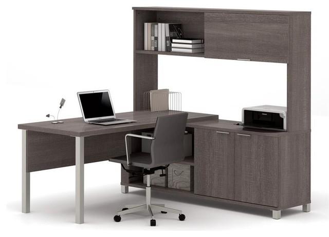 Bestar Pro Linea L Desk With Hutch Bark Grey Closed