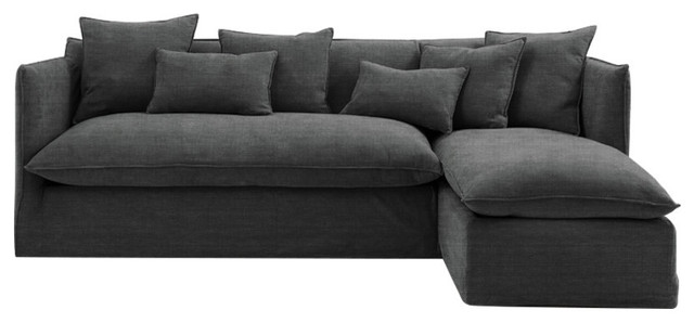 Sophie Chaise Sofa Bed, Slate, 2.5 Seater, Right Hand Facing, 133x186 cm