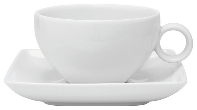 Carre White Tea Cup And Saucer Set Of 4 Modern Coffee