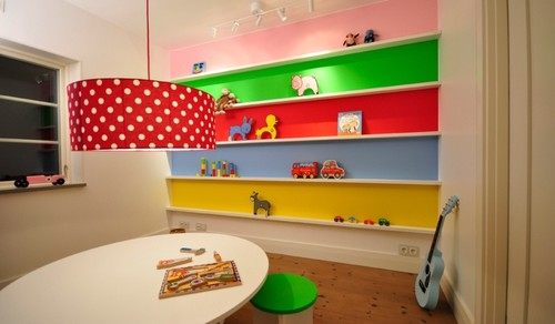 rainbow shelving eclectic kids