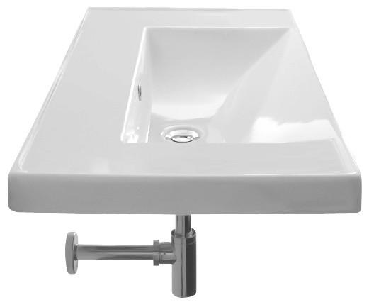 Rectangular White Ceramic Self Rimming Or Wall Mounted Bathroom Sink