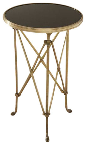 Brass And Black Granite Directoire Table By Global Views Traditional Side  Tables And
