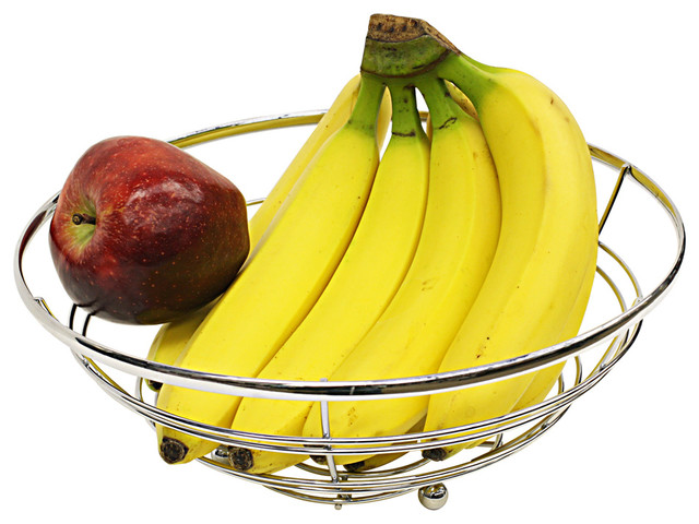 Hds Trading Corp Home Basics Chrome Flat Wire Fruit Bowl