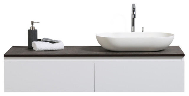 """Ovai 48"""" Wall Mount Modern Bathroom Vanity With Vessel Sink, Right."""