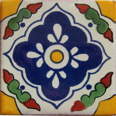 6x6 4 Pcs Guadalajara Talavera Mexican Tile.