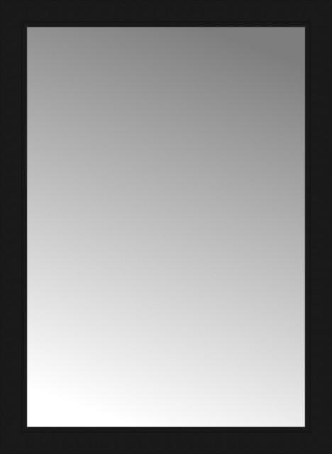 28x38 Custom Framed Mirror, Smooth Black.