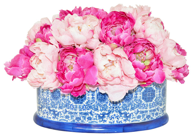Pink peonies in a blue white container artificial flower pink peonies in a blue white container mightylinksfo