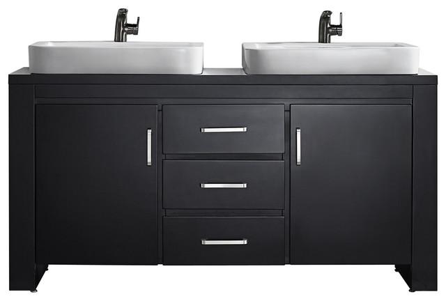 Pascara Espresso Vanity, Drop-In Sink, 63, Double Vanity, Without Mirror.