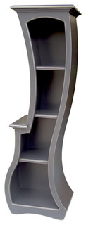 Bookcase No. 5, Stepped Accent Bookcase, Ash Gray Paint