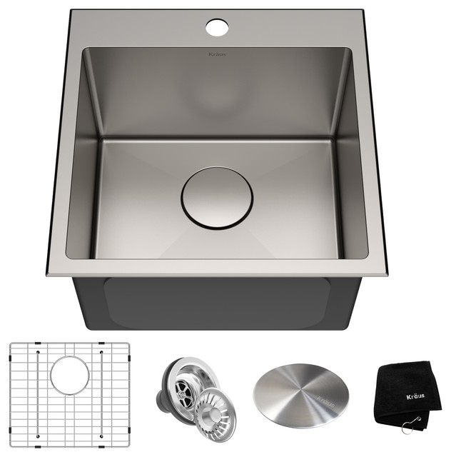 "18"" Drop-In Topmount Stainless Steel Kitchen Sink, Single Bowl 16 Gauge"