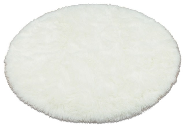 walk on me snowy polar bear faux sheepskin fur round rug  area, Rug/