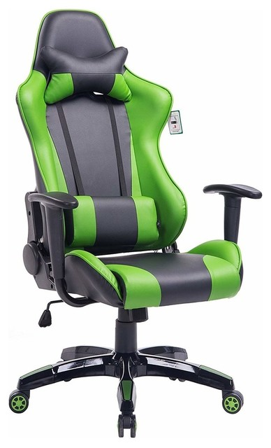Enjoyable Modern Gaming Chair Pu Leather Removable Headrest Pillow Green Caraccident5 Cool Chair Designs And Ideas Caraccident5Info