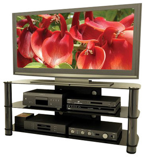 New York Metal and Glass 58-inch Flat Panel TV Stand in Gun Metal ...
