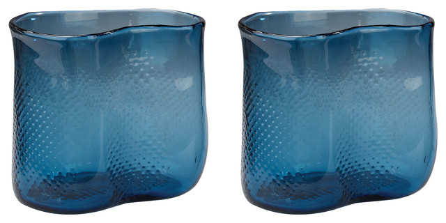 Dimond Home Navy Fish Net Glass Vase Set Of 2 Contemporary