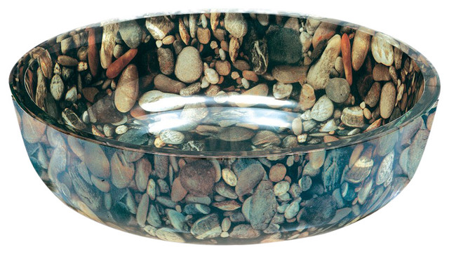 Pebbles Tempered Glass Vessel Sink.