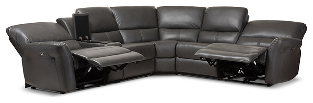 Brilliant Amaris Bonded Leather 5 Piece Power Reclining Sectional Sofa With Usb Ports Gmtry Best Dining Table And Chair Ideas Images Gmtryco