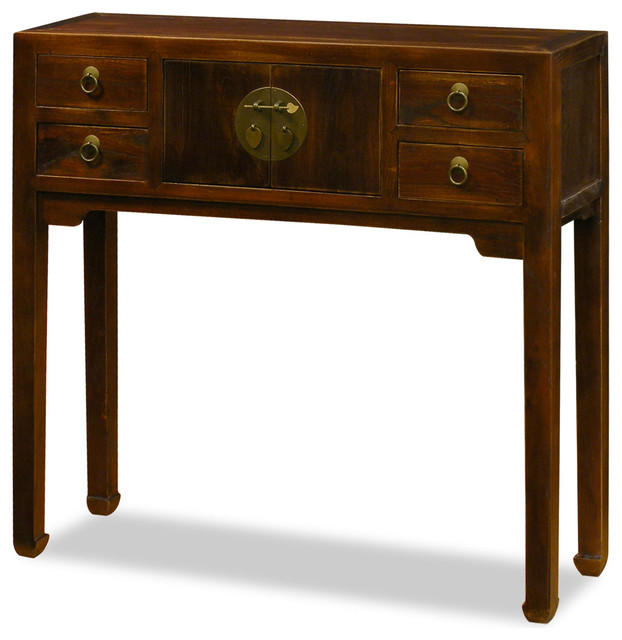 Elmwood Console Table, Walnut Asian Console Tables