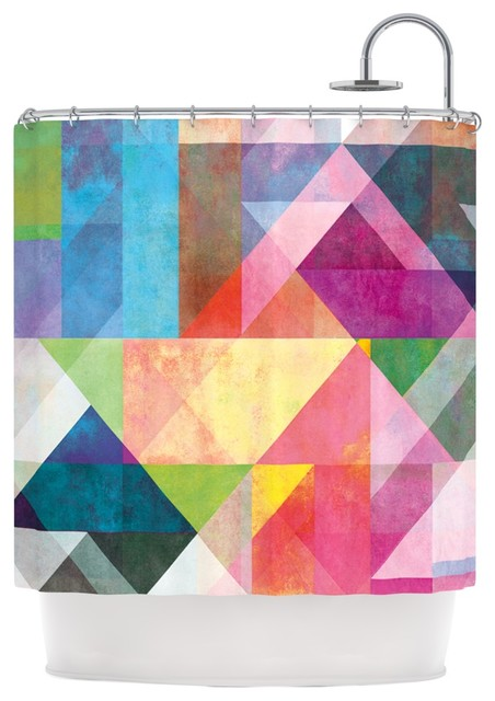 """Mareike Boehmer """"Color Blocking"""" Rainbow Abstract Shower Curtain"""