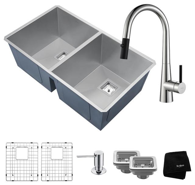 "Kraus Pax 31.5"" 50/50 Kitchen Sink Set, Crespo Faucet And Soap Dispenser, Chrome."