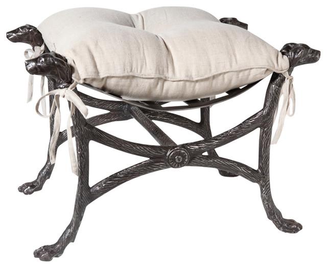 Luxe Labrador Retreiver Dog Head Bench Stool Ornate Paw