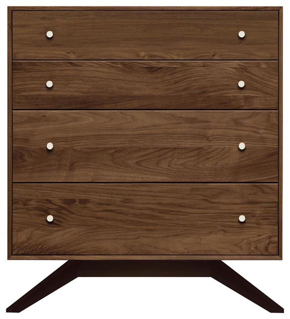 Copeland Furniture Astrid 4 Drawers Dresser, Walnut/dark Chocolate Maple.