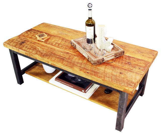Reclaimed Polished Wood Coffee Table: Reclaimed Timber Coffee Table