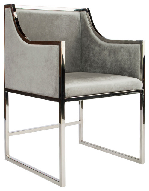 Crawford Dining Chairs, Silver, Set Of 2.