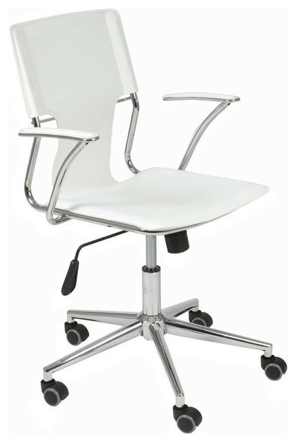 Eurostyle Terry Swivel Office Chair In White Leatherette Chrome Chairs