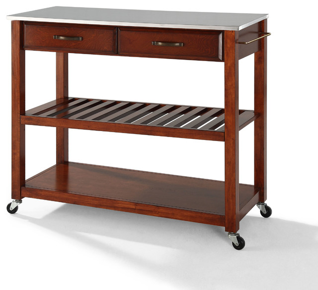 Crosley Stainless Steel Top Kitchen Cart/Island, Optional Stool