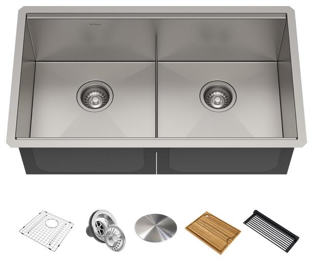 """Kore Workstation 33"""" Undermount Stainless Steel 2-Bowl Kitchen Sink, Accessories"""