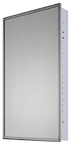 "Medicine Cabinet, 18""x36"", Bright Annealed Stainless Steel Frame, Flush Mounted"