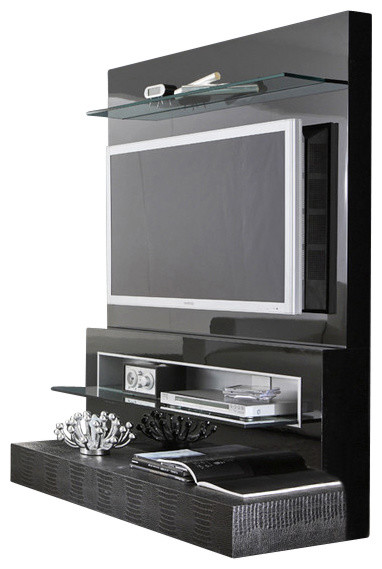 Rossetto Diamond Flat Screen Tv Stand Black Lacquer