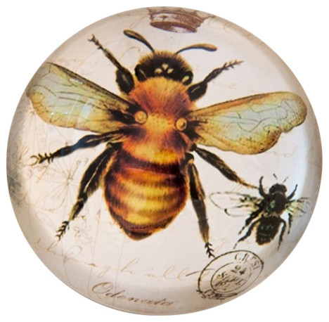 Vintage-Style Bee Paperweight With Crown Crystal Dome.