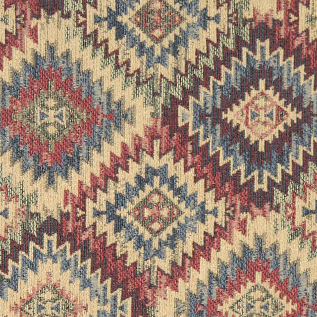 Blue Beige Red And Green Diamond Southwest Style Upholstery Fabric