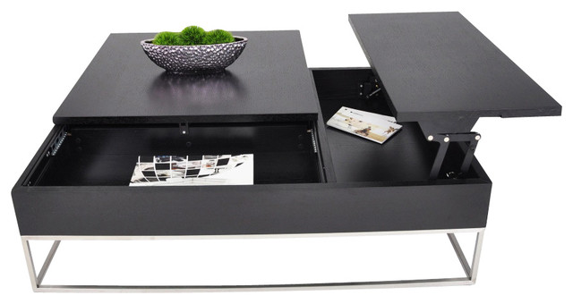 Modern Coffee Table With Pull Out Tray And Storage